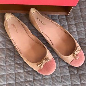 Prada bicolor suede bow cap toe ballerina flats